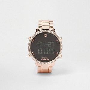 Strassbesetzte Armbanduhr in Roségold