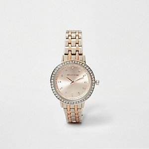 Horloge met zilver- en roségoudkleurig schakelbandje