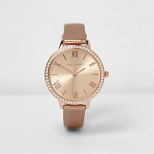 Rose gold tone metallic strap watch