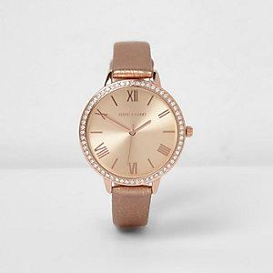 Roségoudkleurig horloge met metallic bandje