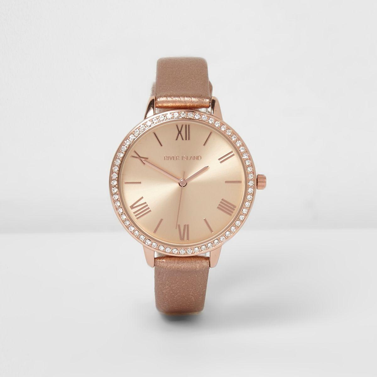 Rose gold tone metallic strap watch