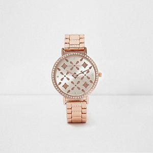 Rose gold tone laser cut diamante watch