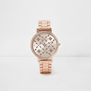 Rose gold tone laser cut rhinestone watch