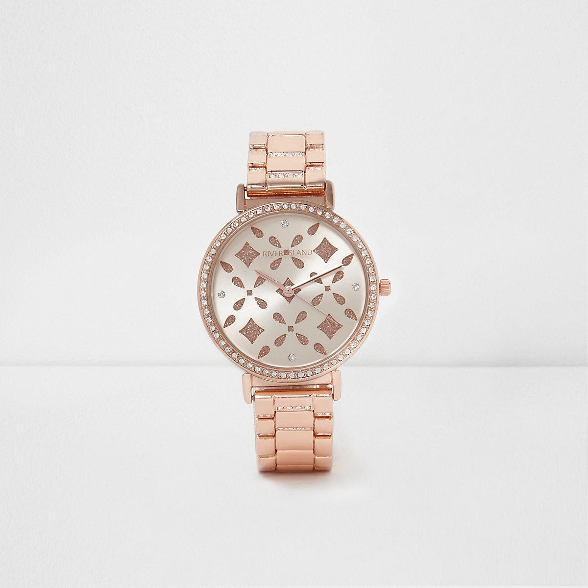 Rose gold tone laser cut rhinestone watch