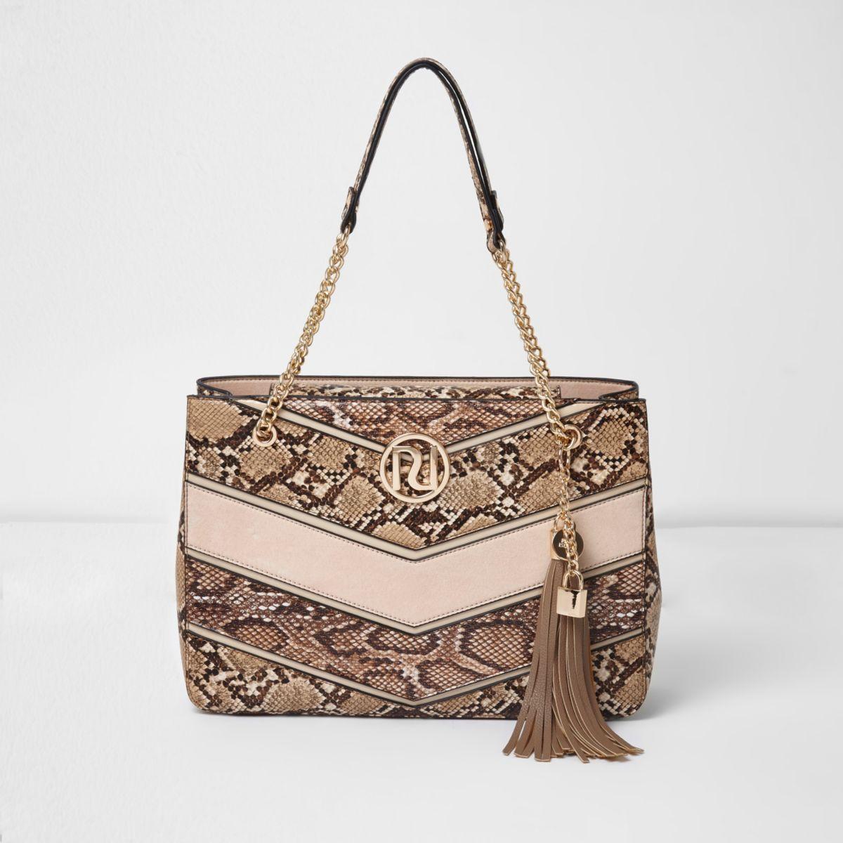 Beige snake print tassel chain tote bag