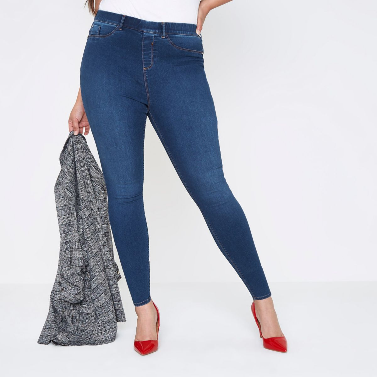 Plus mid blue Jaida skinny pull-on jeggings