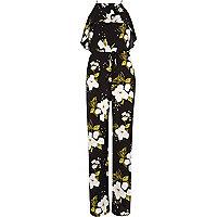 Black floral frill wide leg jumpsuit