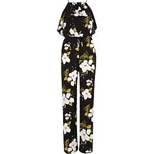 Combi-short large à fleurs noir à volant