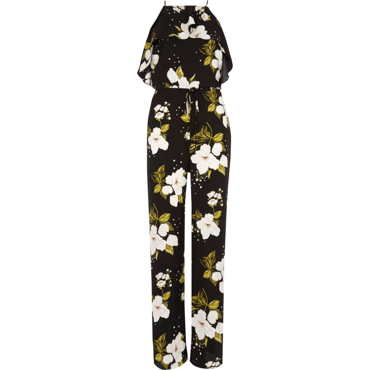 Black floral frill wide leg jumpsuit