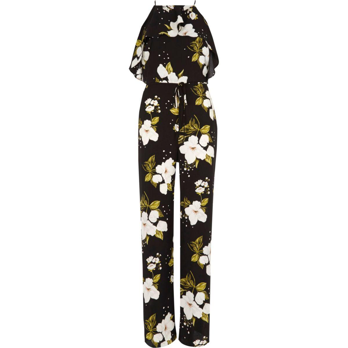 Zwarte gebloemde jumpsuit met wijde pijpen en ruches