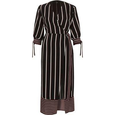 River Island Bordeauxrode gestreepte getailleerde midi-jurk met overslag