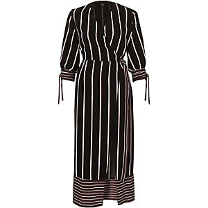 Burgundy stripe waisted wrap front midi dress