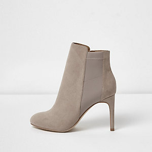 Beige scuba panel stiletto heel boots