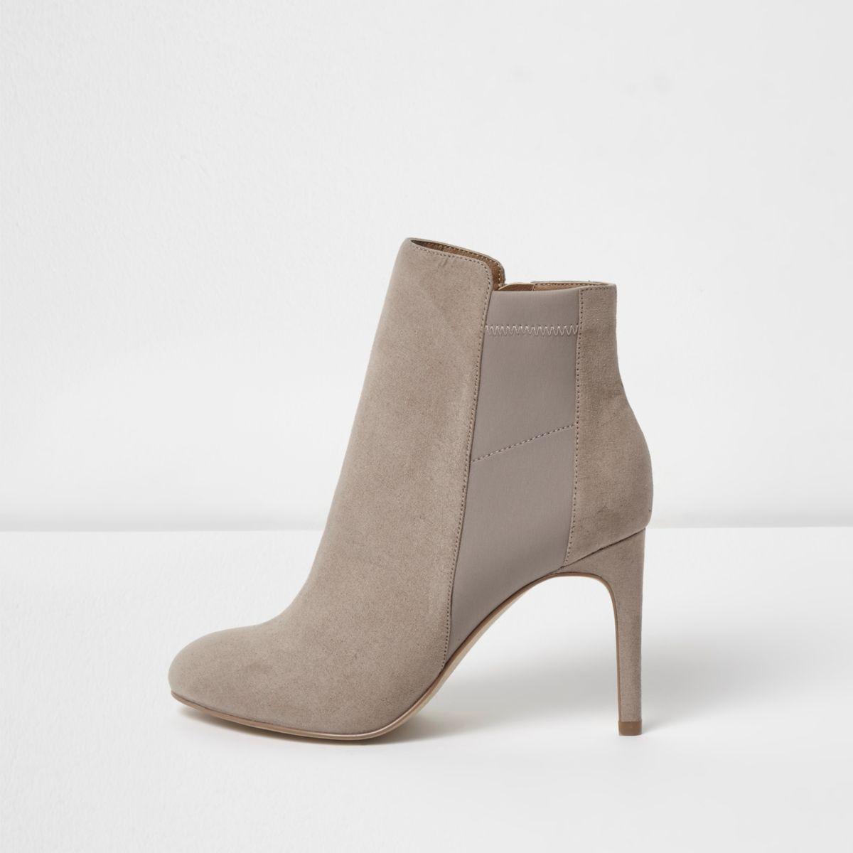 Beige scuba panel stiletto heel boots