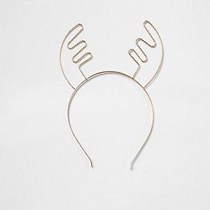 Serre-tête motif bois de renne de Noël doré