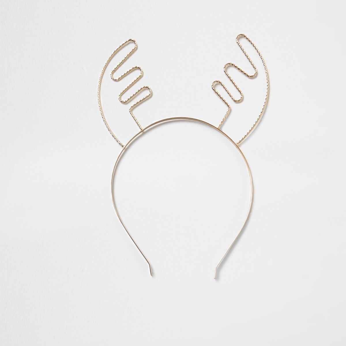 Gold tone Christmas reindeer antler hair band