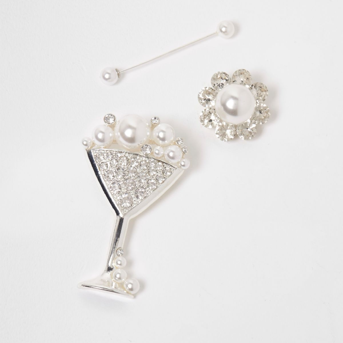 Silver tone martini faux pearl brooch pack