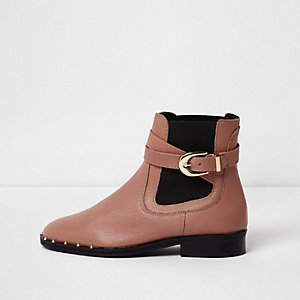 Dark beige buckle side leather chelsea boots