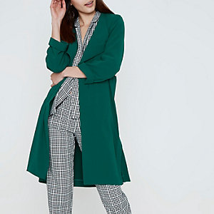 Dark emerald green fallaway duster coat