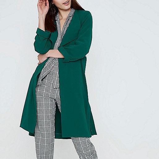 Dark emerald green fallaway duster coat