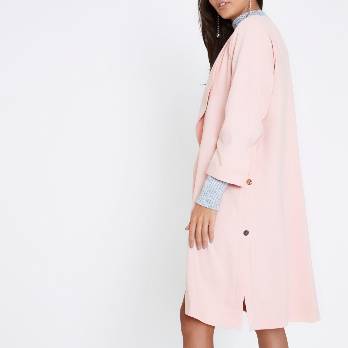Light pink fallaway duster coat