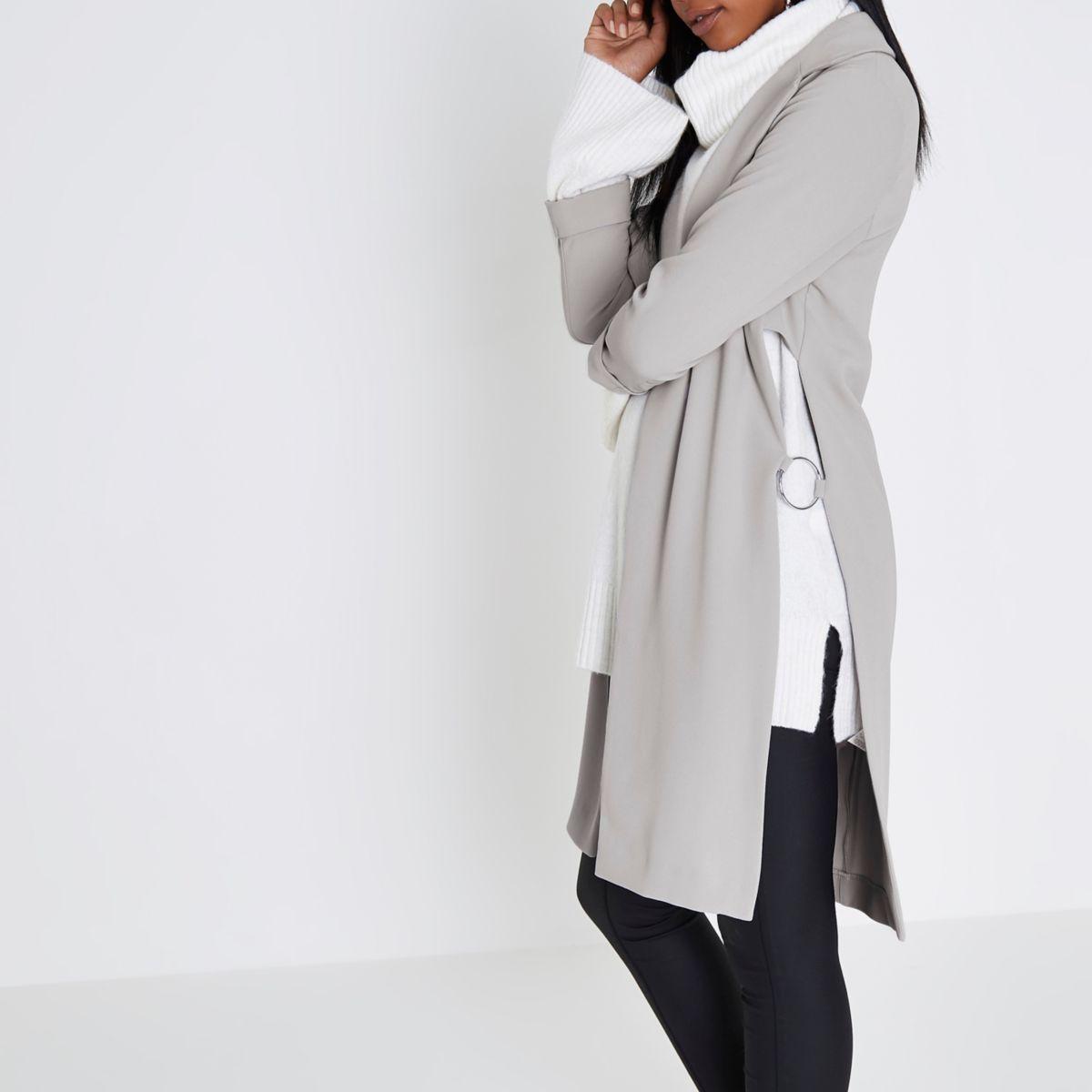 Light grey ring trim duster coat