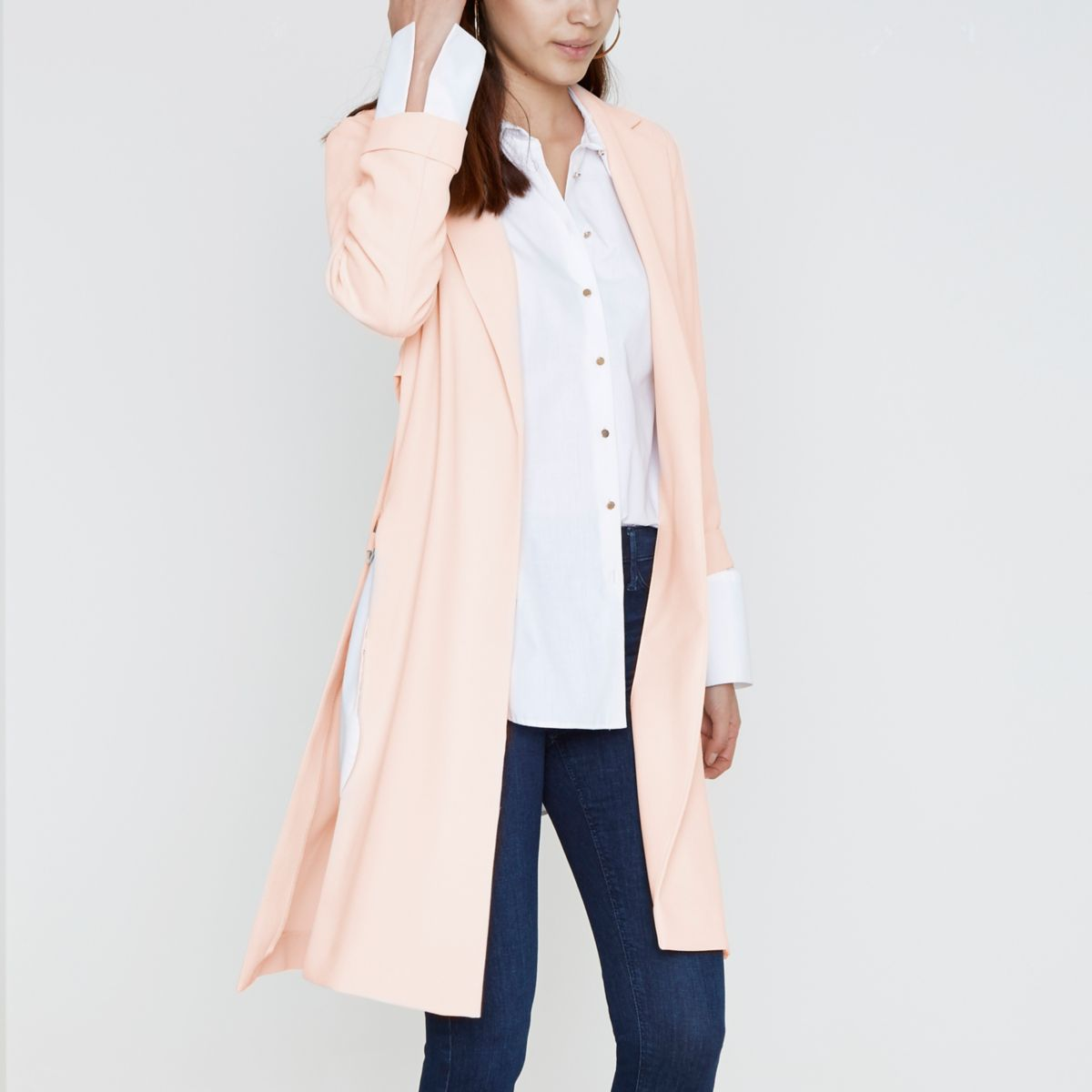 Cream metal ring trim duster coat