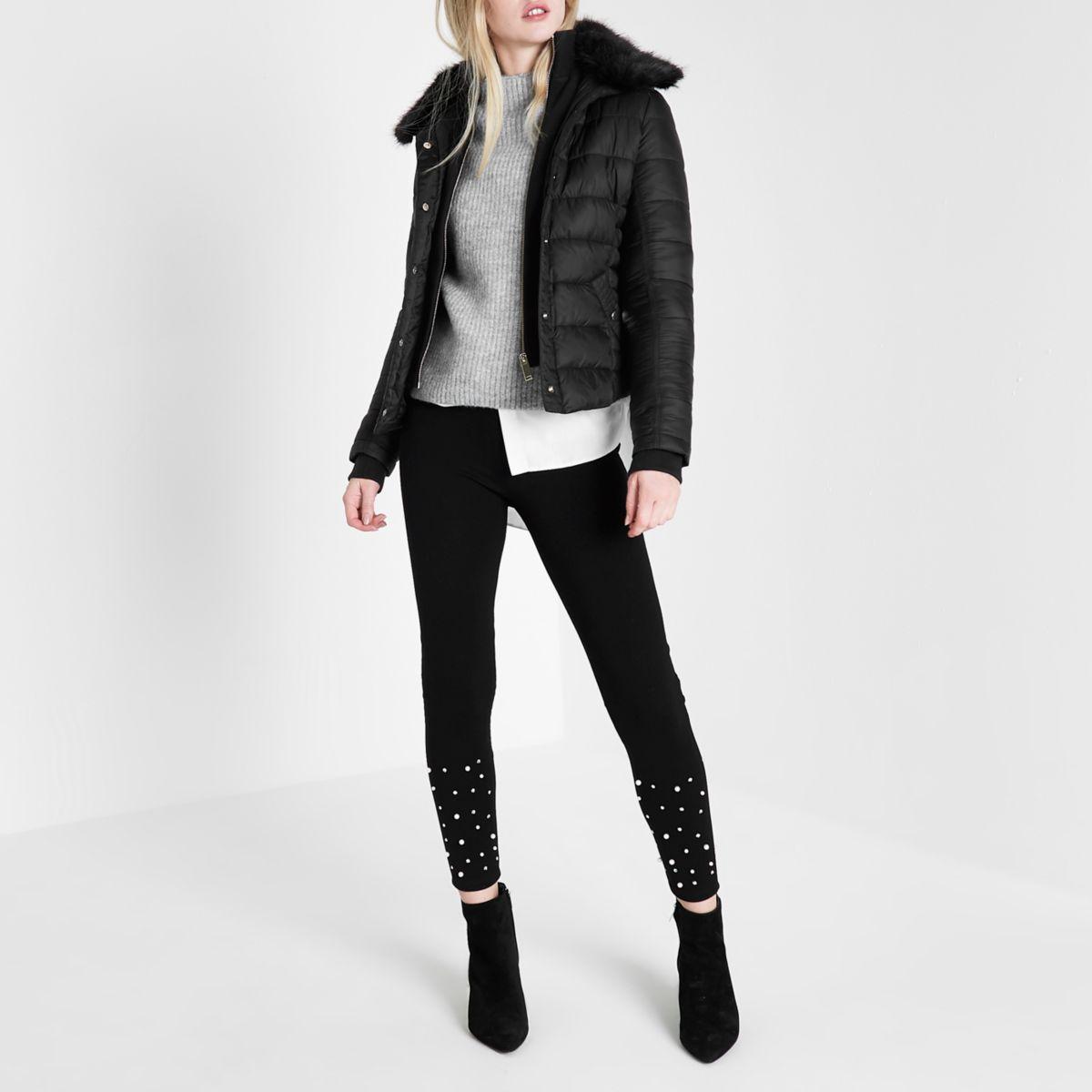 Black padded faux fur collar jacket