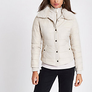 Cream padded faux fur collar jacket