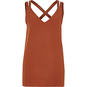 Copper double strap cross back tank
