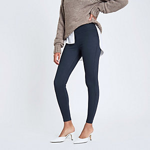 Marineblaue Leggings im Denim-Look