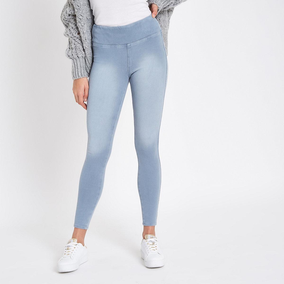 7c7f3dfd616206 Light blue denim look leggings - Leggings - Trousers - women