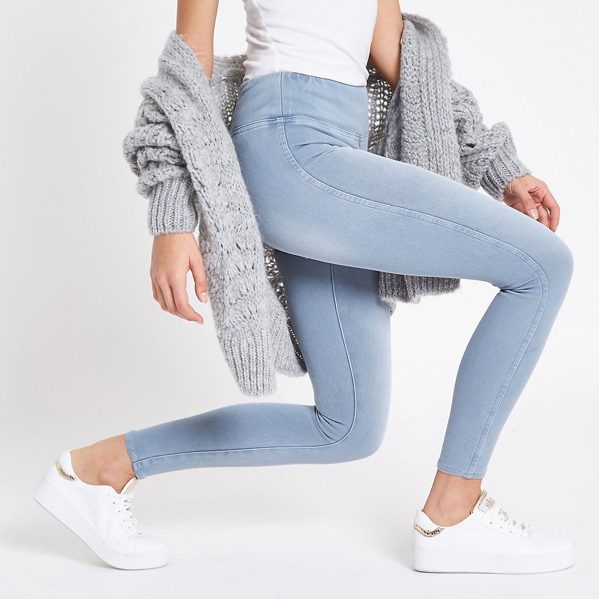 Light blue denim look leggings