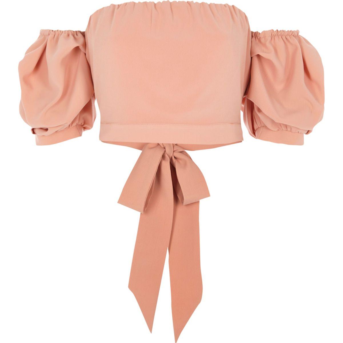 Light pink puff sleeve bardot crop top