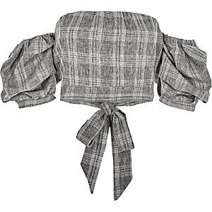 Grey check puff sleeve bardot crop top