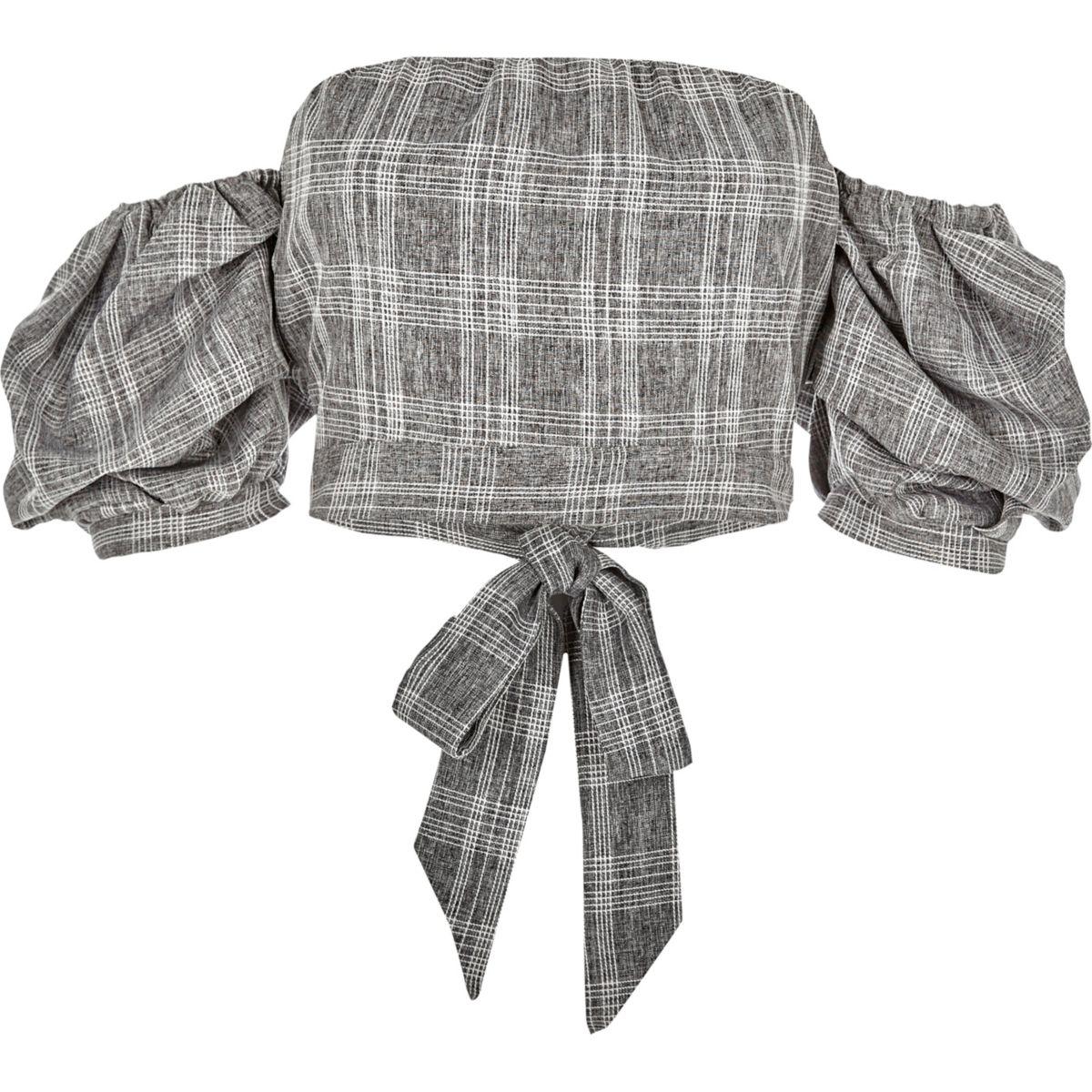Grey check puff sleeve bardot crop top