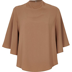Light brown cape sleeve top