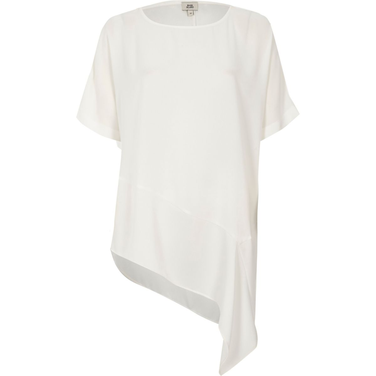 Cream asymmetric hem T-shirt