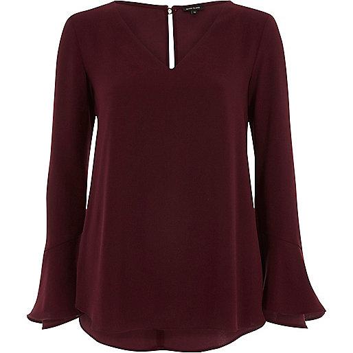 Burgundy long bell sleeve frill back top