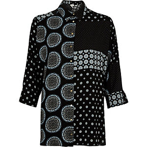 Black mixed tile long sleeve shirt