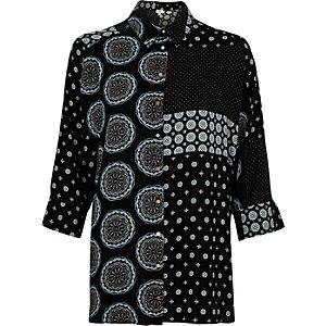 Chemise à carreaux variés noire à manches longues
