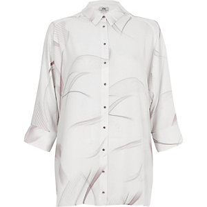 Light grey smoke print bow back shirt