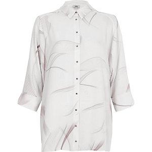 Light grey smoke print bow back shirt