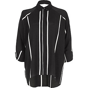 Black stripe cut out back shirt