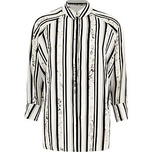 Black marble stripe print high low hem shirt