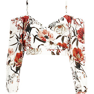 Cream floral print bardot wrap crop top