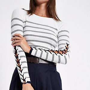 Cream stripe lace-up sleeve knitted top