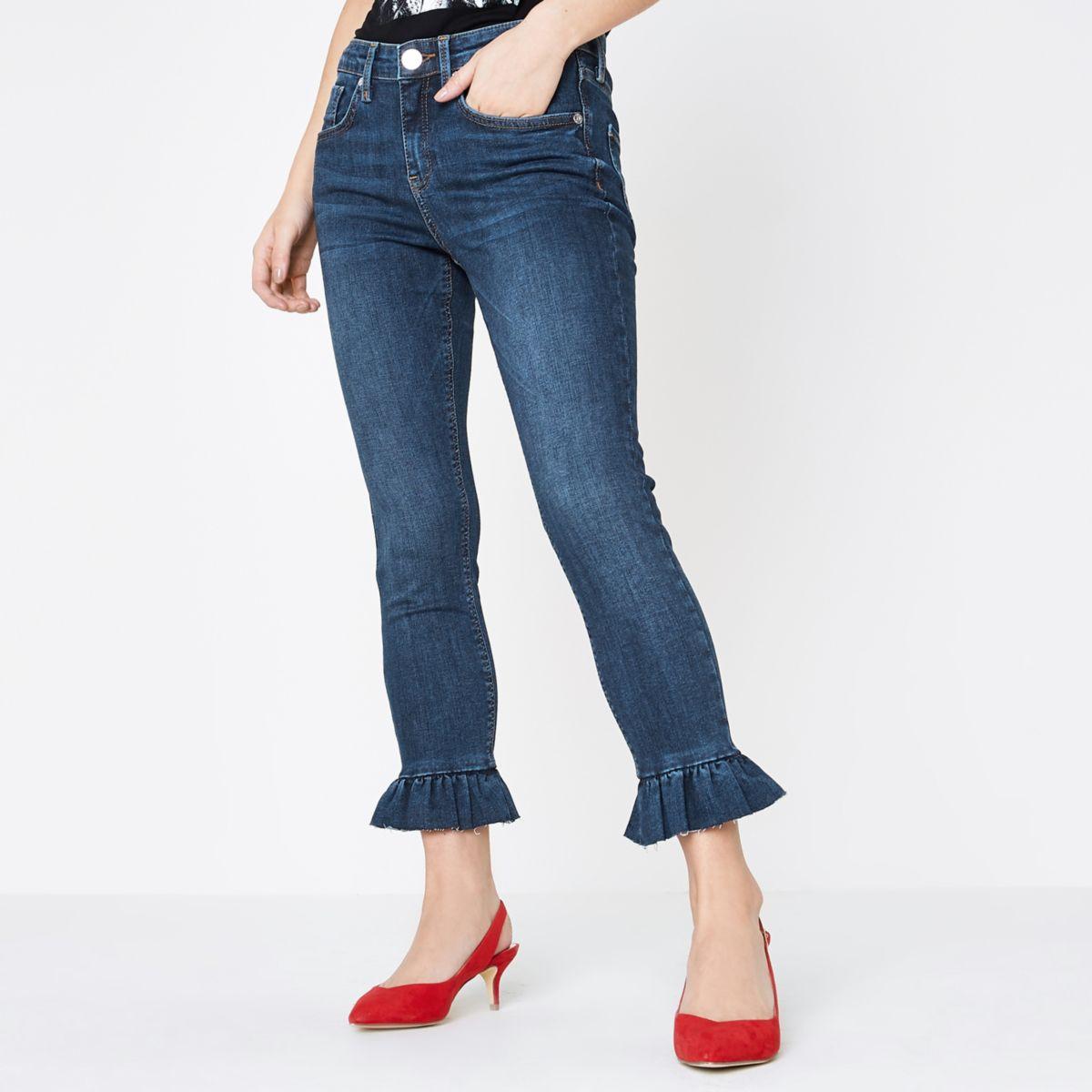 Petite blue Amelie frill super skinny jeans