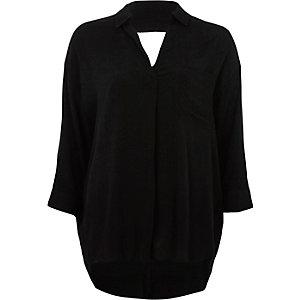 Hinten überkreuzte Loose Fit Bluse in Schwarz