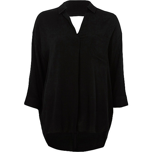 Black cross back loose fit blouse